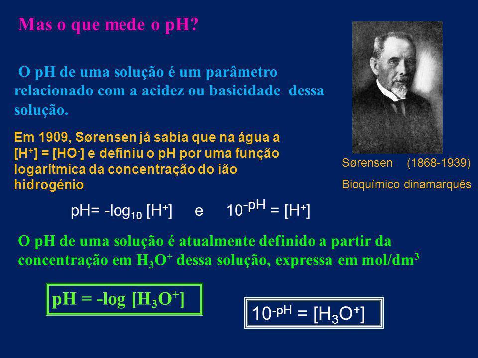 Mas o que mede o pH pH = -log [H3O+] 10-pH = [H3O+]